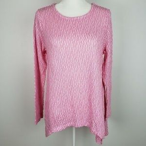 • chelsea & theodore pink textured knit top •